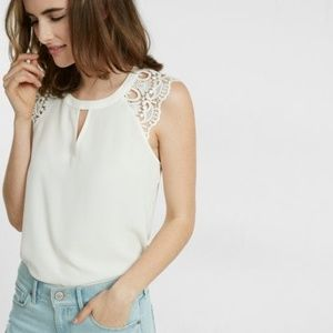NWOT Express Ivory Crochet Sleeve Sheer Top S,M,L